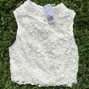 Never worn cream/white lace crop too